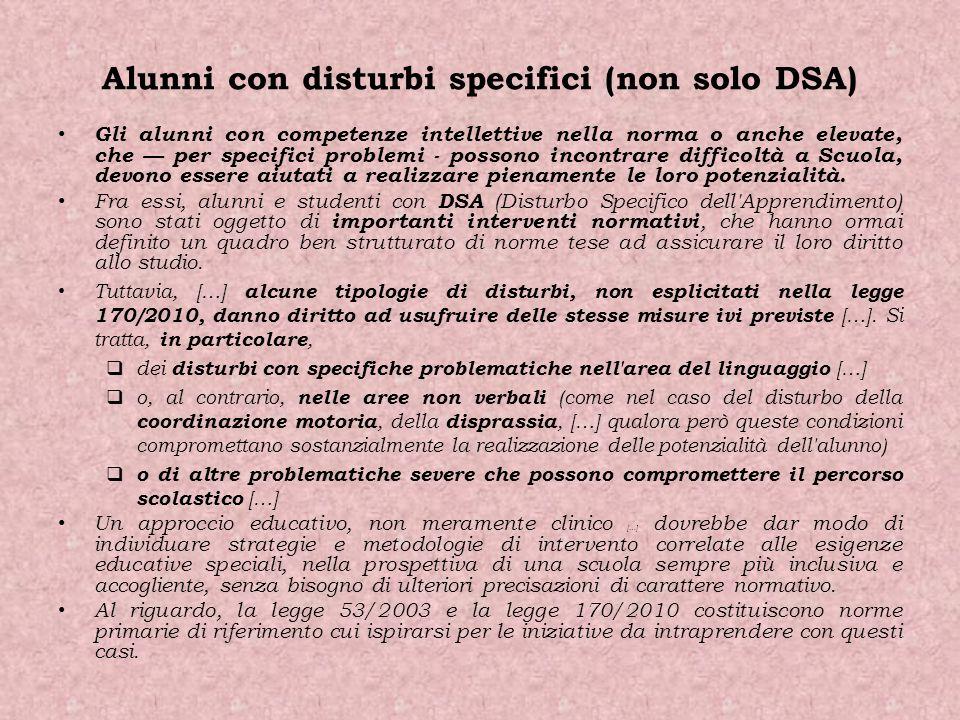 Alunni con disturbi specifici (non solo DSA)