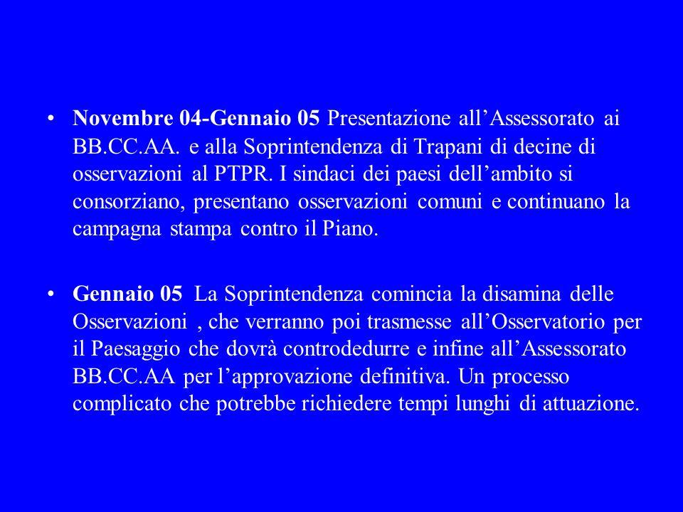 Novembre 04-Gennaio 05 Presentazione all'Assessorato ai BB. CC. AA