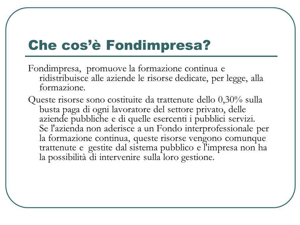 Che cos'è Fondimpresa Fondimpresa, promuove la formazione continua e ridistribuisce alle aziende le risorse dedicate, per legge, alla formazione.