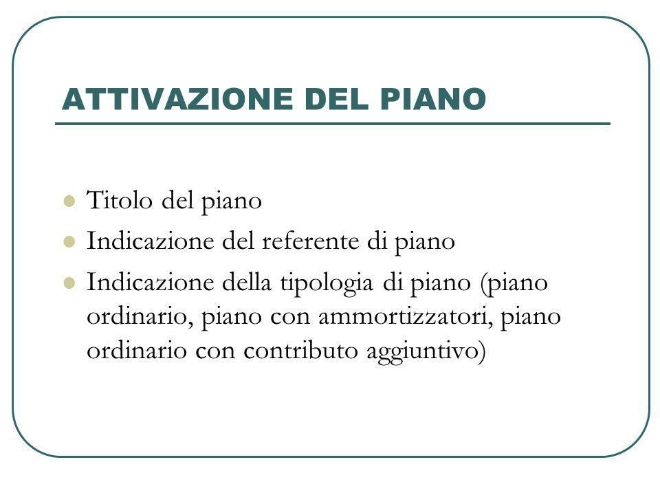 ATTIVAZIONE DEL PIANO Titolo del piano