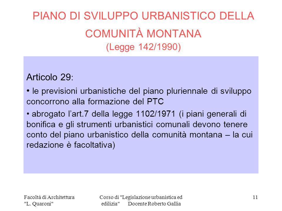 PIANO DI SVILUPPO URBANISTICO DELLA COMUNITÀ MONTANA (Legge 142/1990)