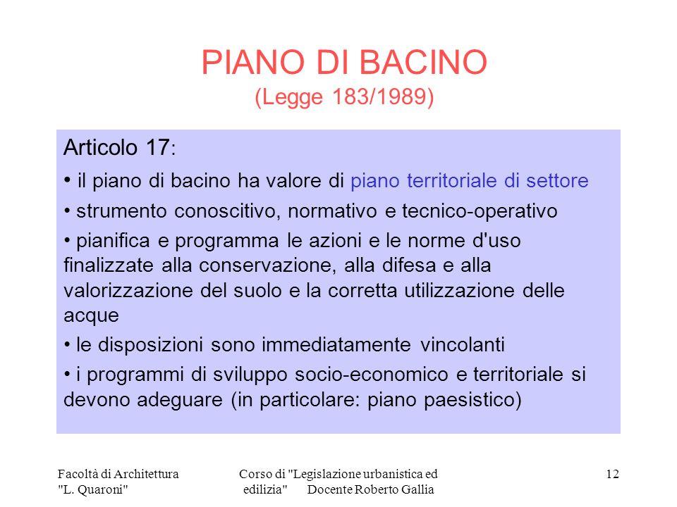 PIANO DI BACINO (Legge 183/1989)