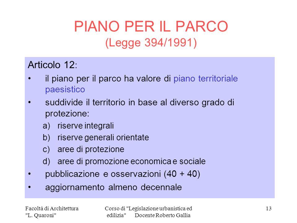 PIANO PER IL PARCO (Legge 394/1991)