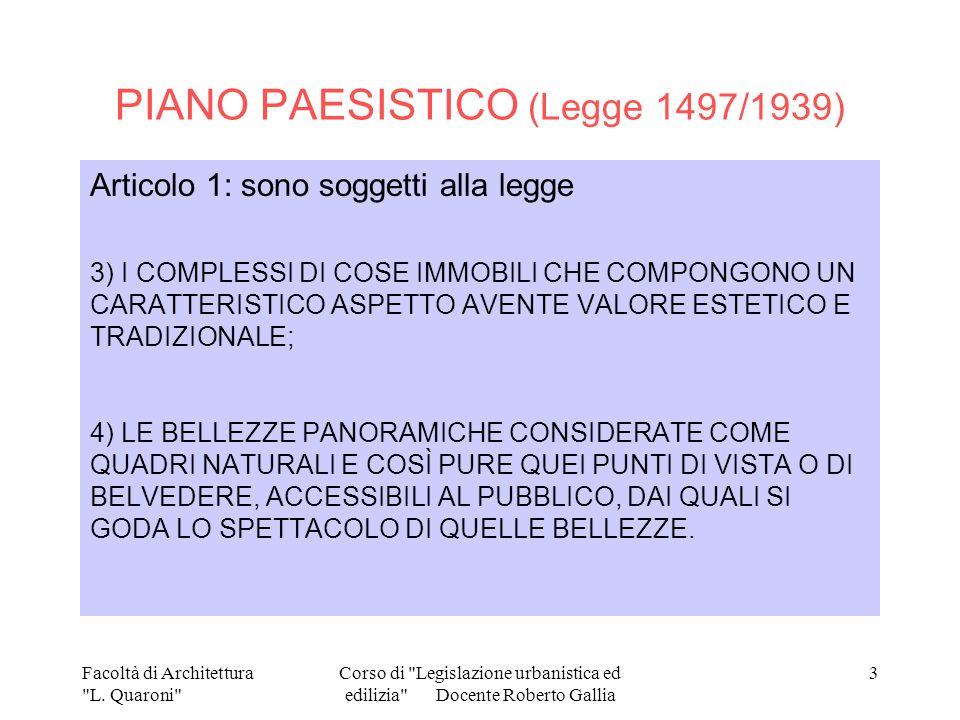 PIANO PAESISTICO (Legge 1497/1939)