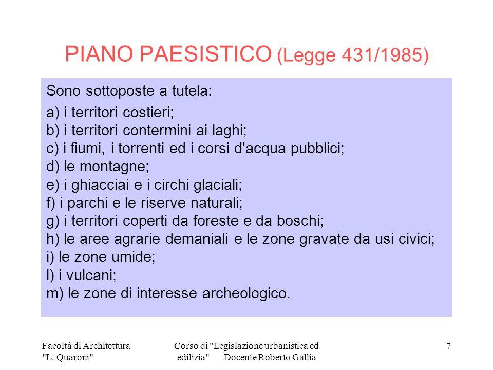 PIANO PAESISTICO (Legge 431/1985)