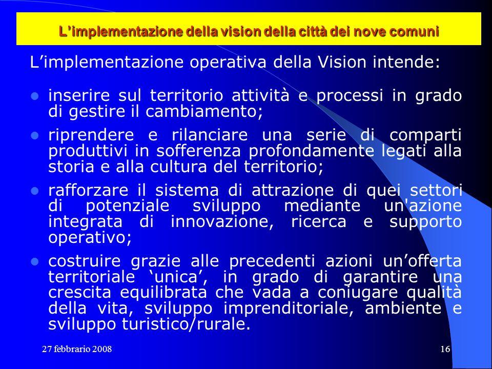 L'implementazione della vision della città dei nove comuni