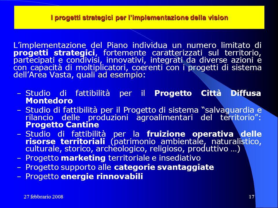 I progetti strategici per l'implementazione della vision