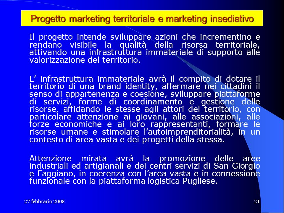Progetto marketing territoriale e marketing insediativo