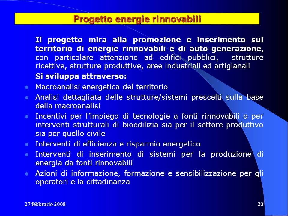 Progetto energie rinnovabili