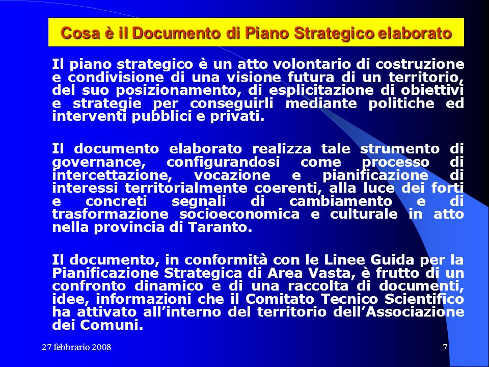Cosa è il Documento di Piano Strategico elaborato