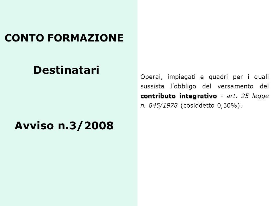 CONTO FORMAZIONE Destinatari Avviso n.3/2008