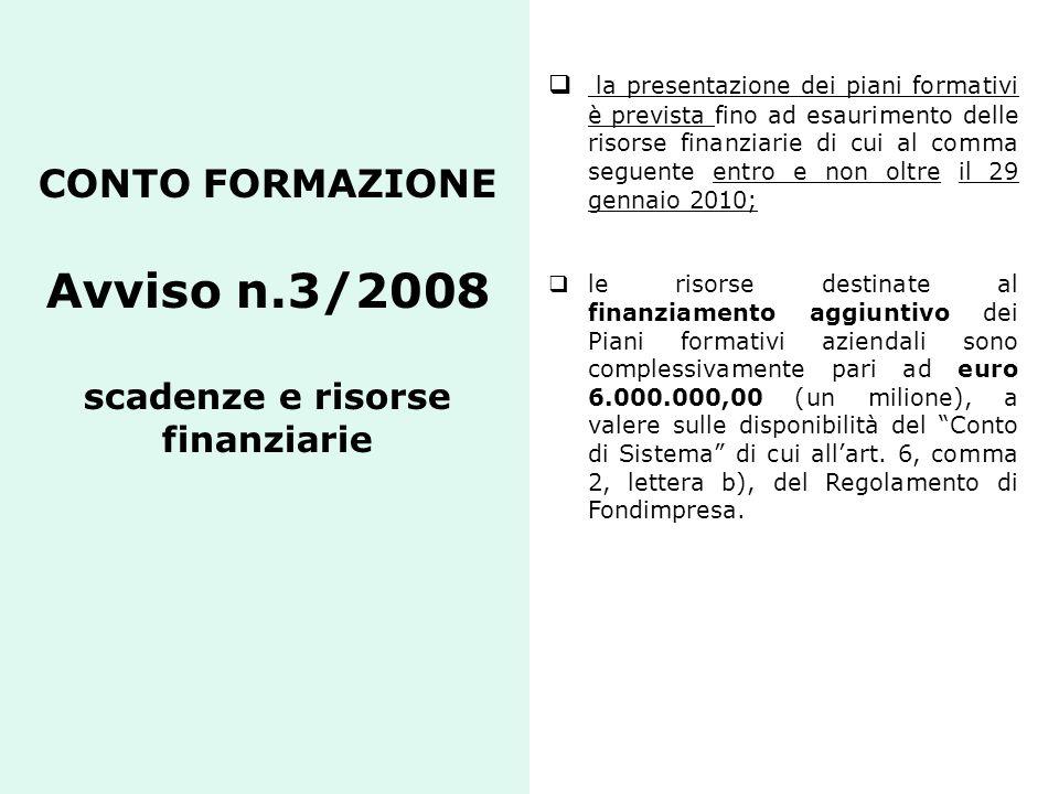 CONTO FORMAZIONE Avviso n.3/2008 scadenze e risorse finanziarie