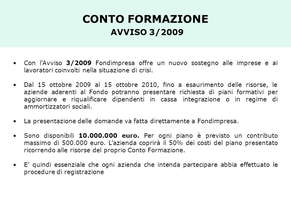 CONTO FORMAZIONE AVVISO 3/2009