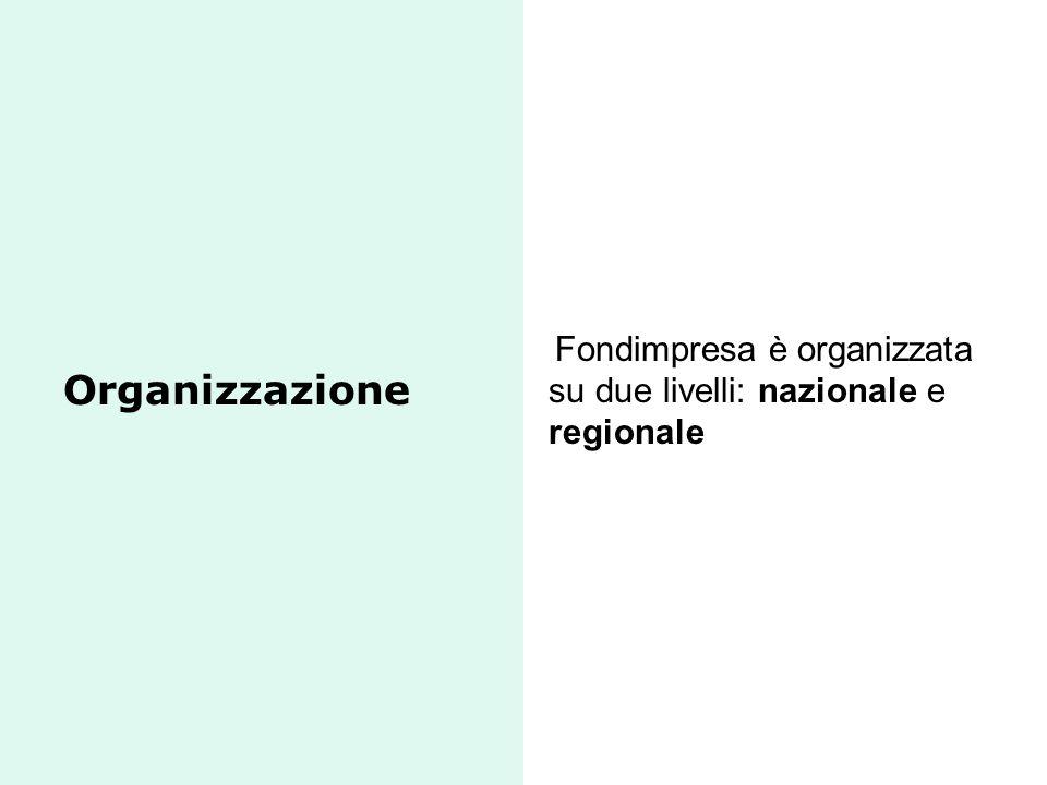 Fondimpresa è organizzata su due livelli: nazionale e regionale