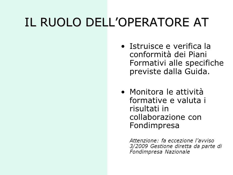 IL RUOLO DELL'OPERATORE AT