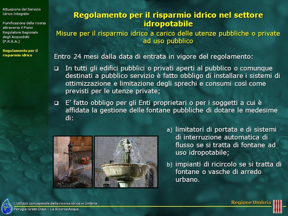 Regolamento per il risparmio idrico nel settore idropotabile