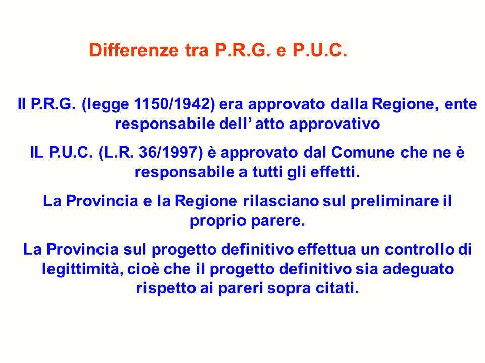 Differenze tra P.R.G. e P.U.C.