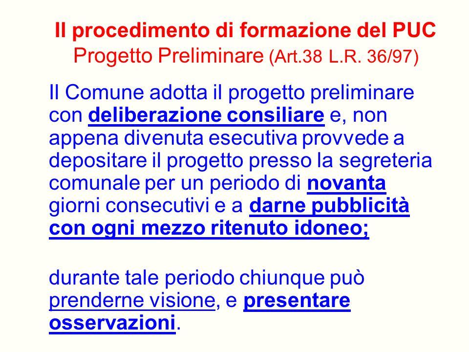 Il procedimento di formazione del PUC Progetto Preliminare (Art. 38 L