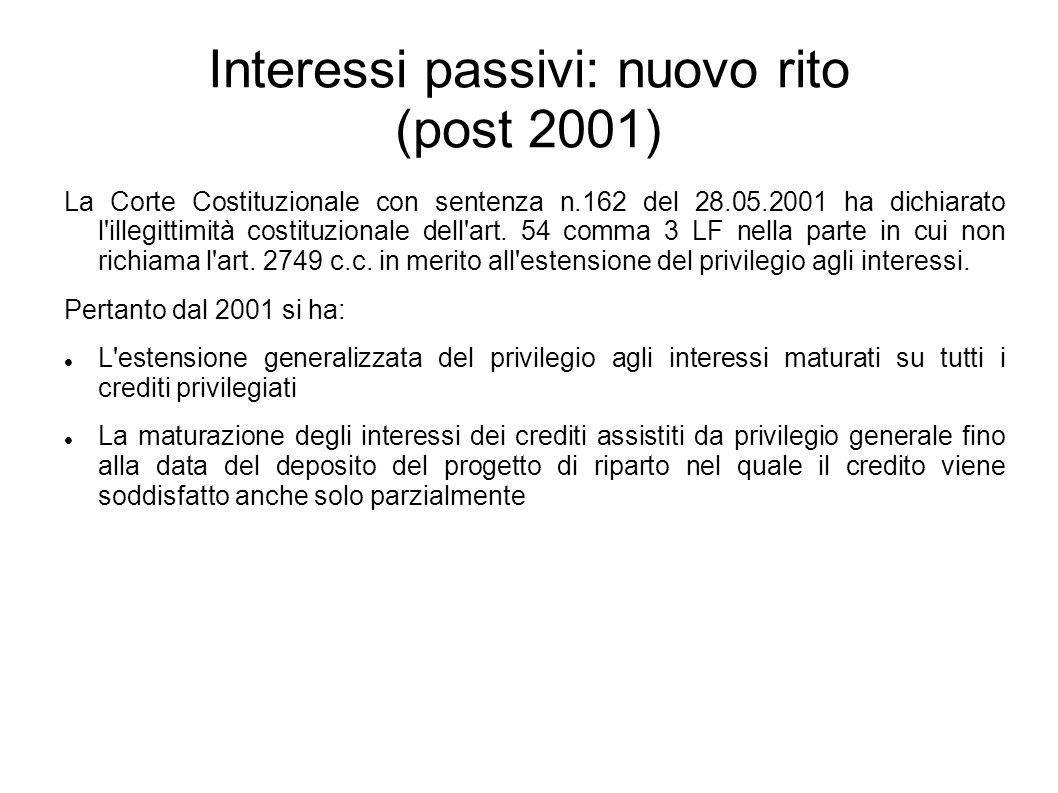 Interessi passivi: nuovo rito (post 2001)