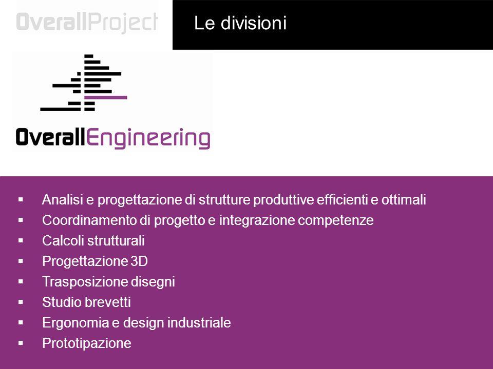 Le divisioniAnalisi e progettazione di strutture produttive efficienti e ottimali. Coordinamento di progetto e integrazione competenze.