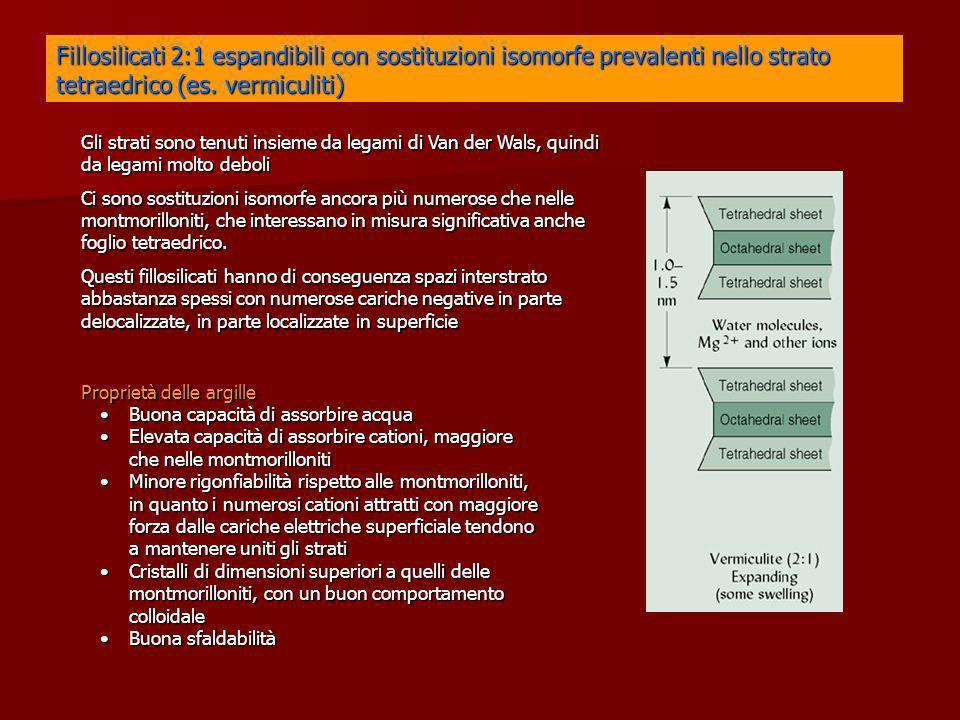 Fillosilicati 2:1 espandibili con sostituzioni isomorfe prevalenti nello strato tetraedrico (es. vermiculiti)