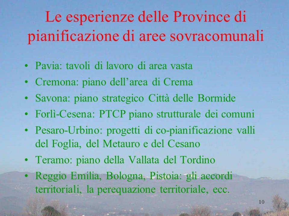 Le esperienze delle Province di pianificazione di aree sovracomunali