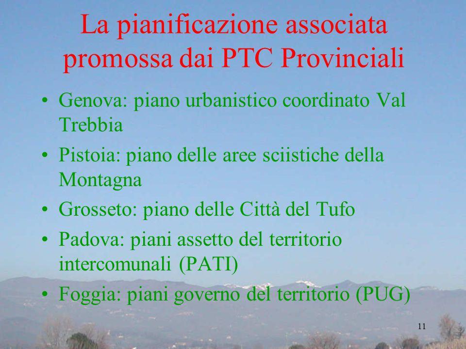 La pianificazione associata promossa dai PTC Provinciali