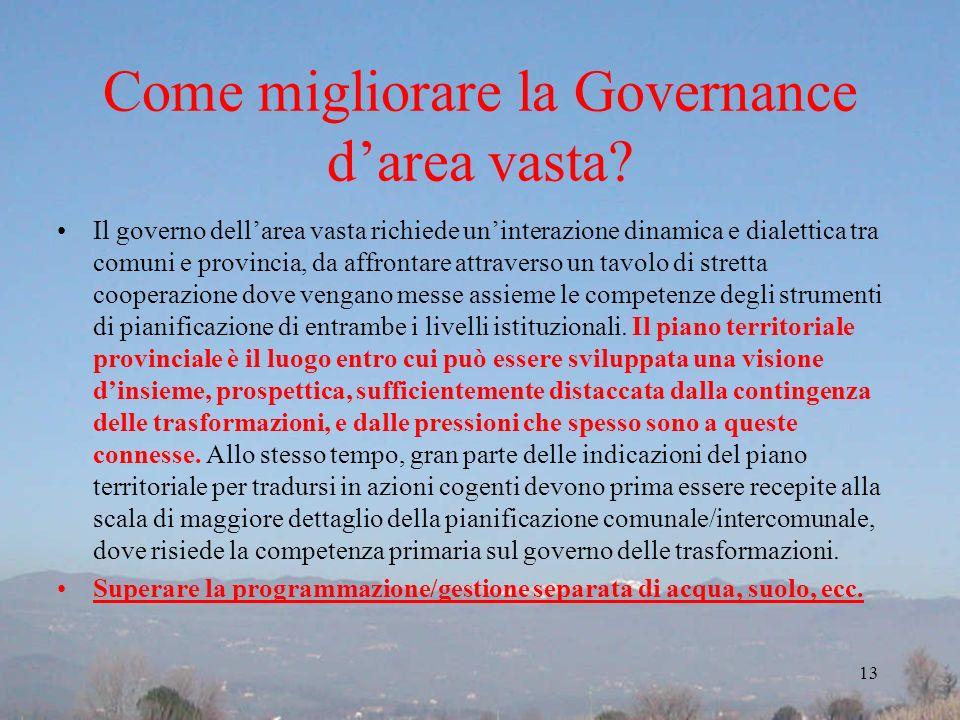 Come migliorare la Governance d'area vasta