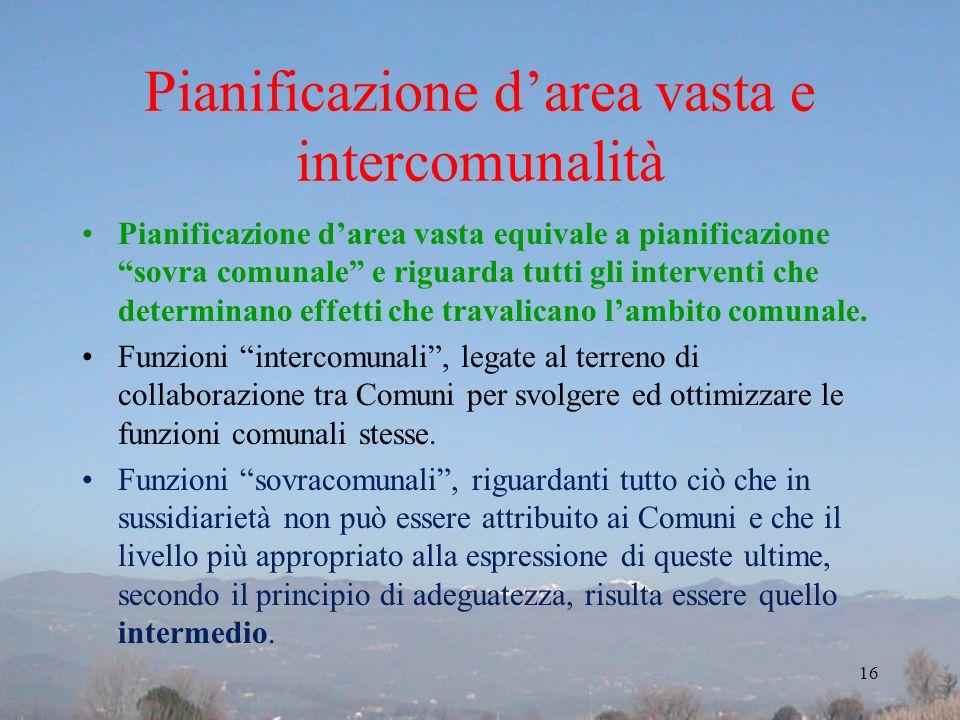 Pianificazione d'area vasta e intercomunalità