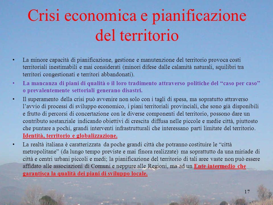 Crisi economica e pianificazione del territorio