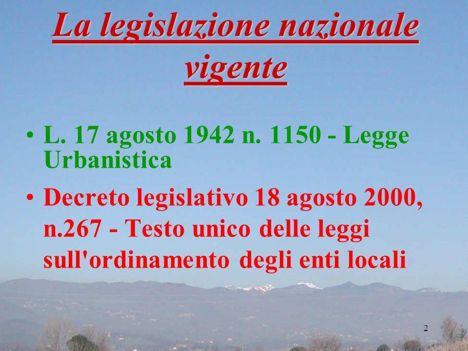 La legislazione nazionale vigente