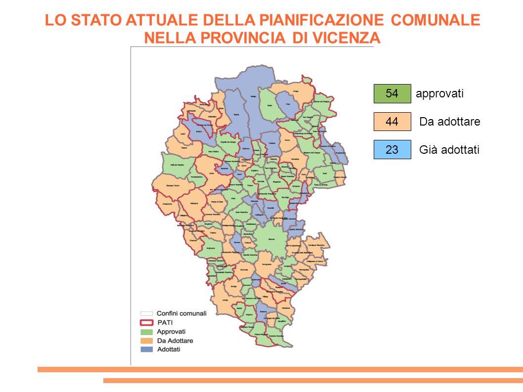 LO STATO ATTUALE DELLA PIANIFICAZIONE COMUNALE NELLA PROVINCIA DI VICENZA