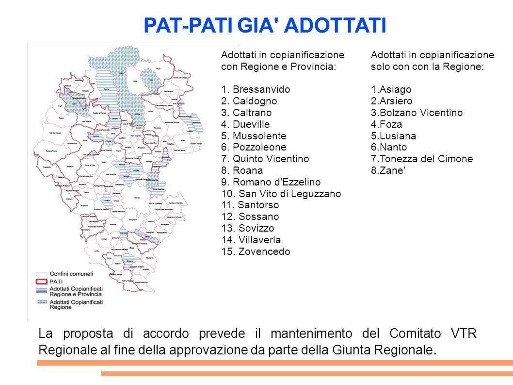 PAT-PATI GIA ADOTTATI Adottati in copianificazione. con Regione e Provincia: 1. Bressanvido. 2. Caldogno.