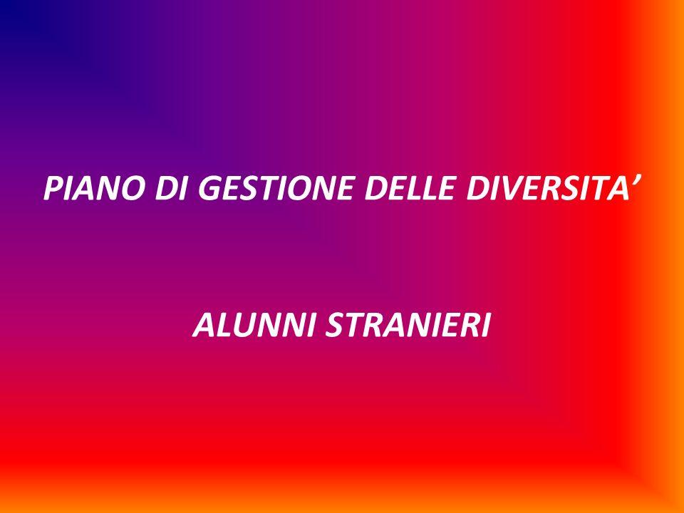 PIANO DI GESTIONE DELLE DIVERSITA' ALUNNI STRANIERI