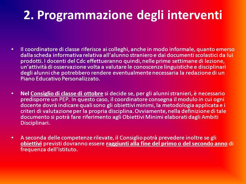 2. Programmazione degli interventi