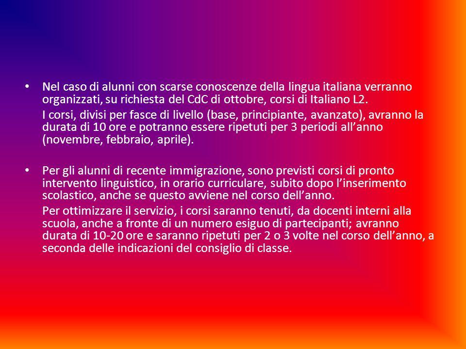 Nel caso di alunni con scarse conoscenze della lingua italiana verranno organizzati, su richiesta del CdC di ottobre, corsi di Italiano L2.