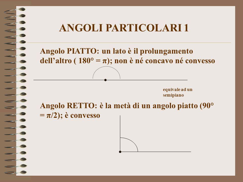 ANGOLI PARTICOLARI 1 Angolo PIATTO: un lato è il prolungamento dell'altro ( 180° = π); non è né concavo né convesso.