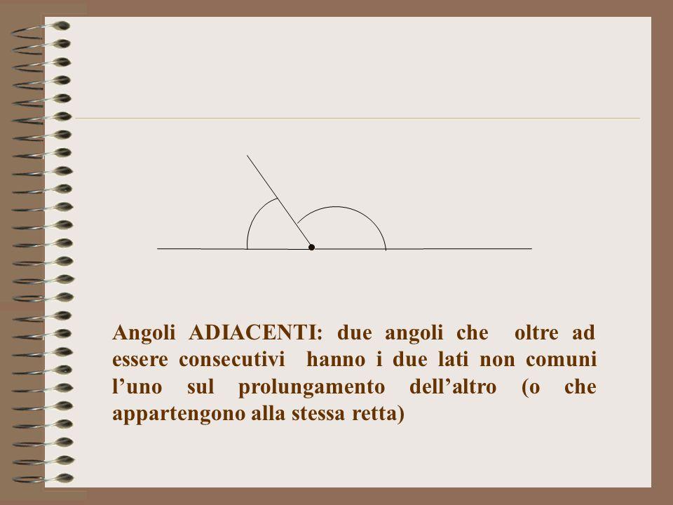 Angoli ADIACENTI: due angoli che oltre ad essere consecutivi hanno i due lati non comuni l'uno sul prolungamento dell'altro (o che appartengono alla stessa retta)