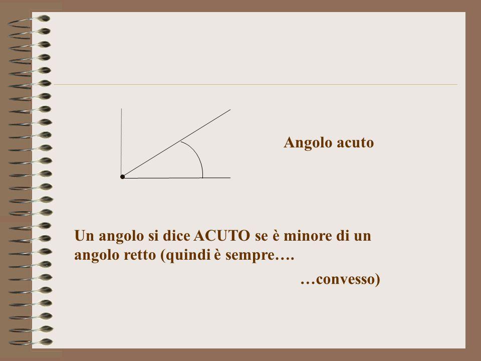 Angolo acuto Un angolo si dice ACUTO se è minore di un angolo retto (quindi è sempre…. …convesso)