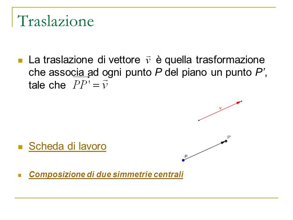 Traslazione La traslazione di vettore è quella trasformazione che associa ad ogni punto P del piano un punto P', tale che.