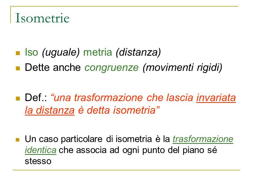 Isometrie Iso (uguale) metria (distanza)