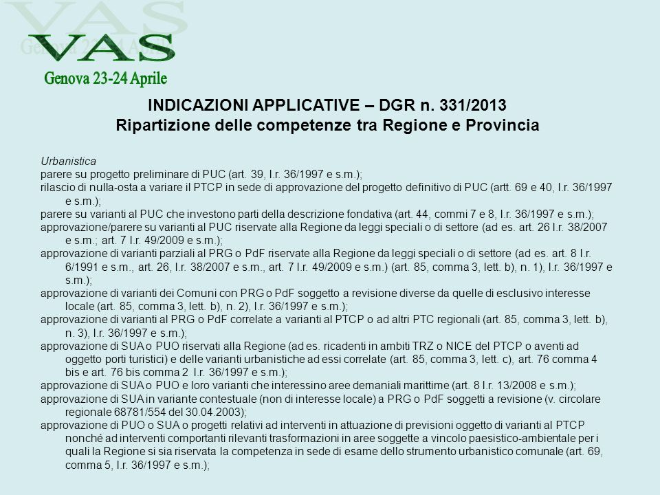 VAS INDICAZIONI APPLICATIVE – DGR n. 331/2013