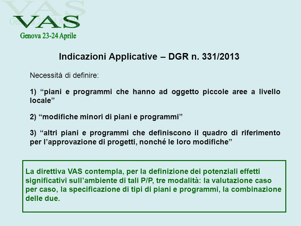 Indicazioni Applicative – DGR n. 331/2013