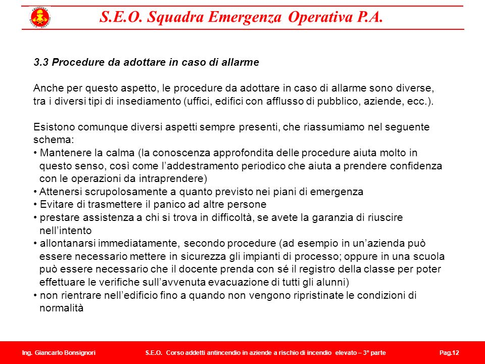 3.3 Procedure da adottare in caso di allarme