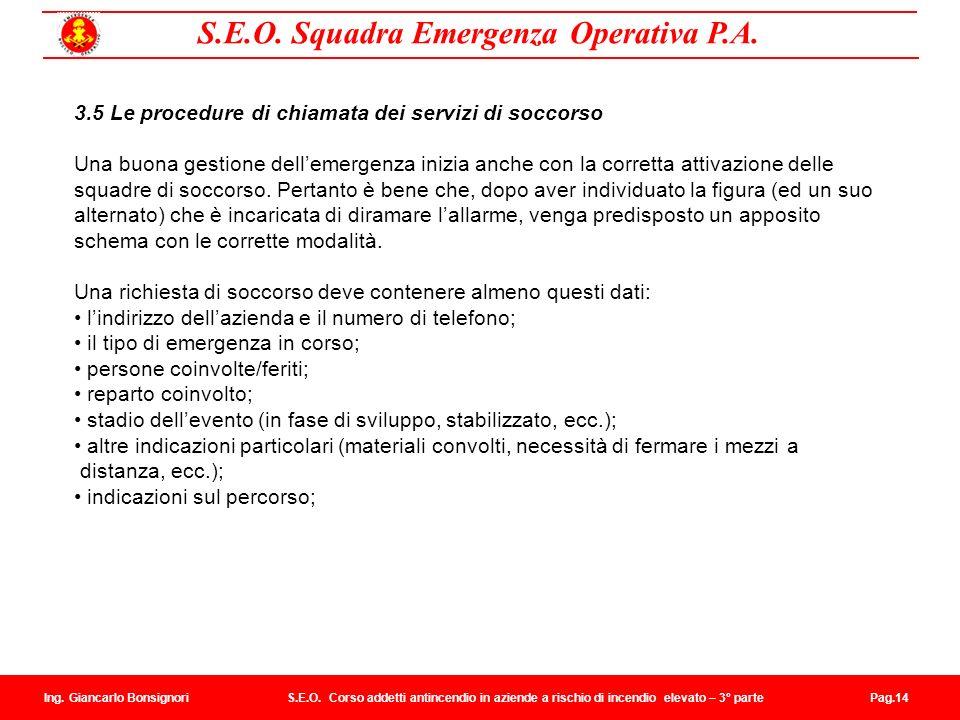 3.5 Le procedure di chiamata dei servizi di soccorso