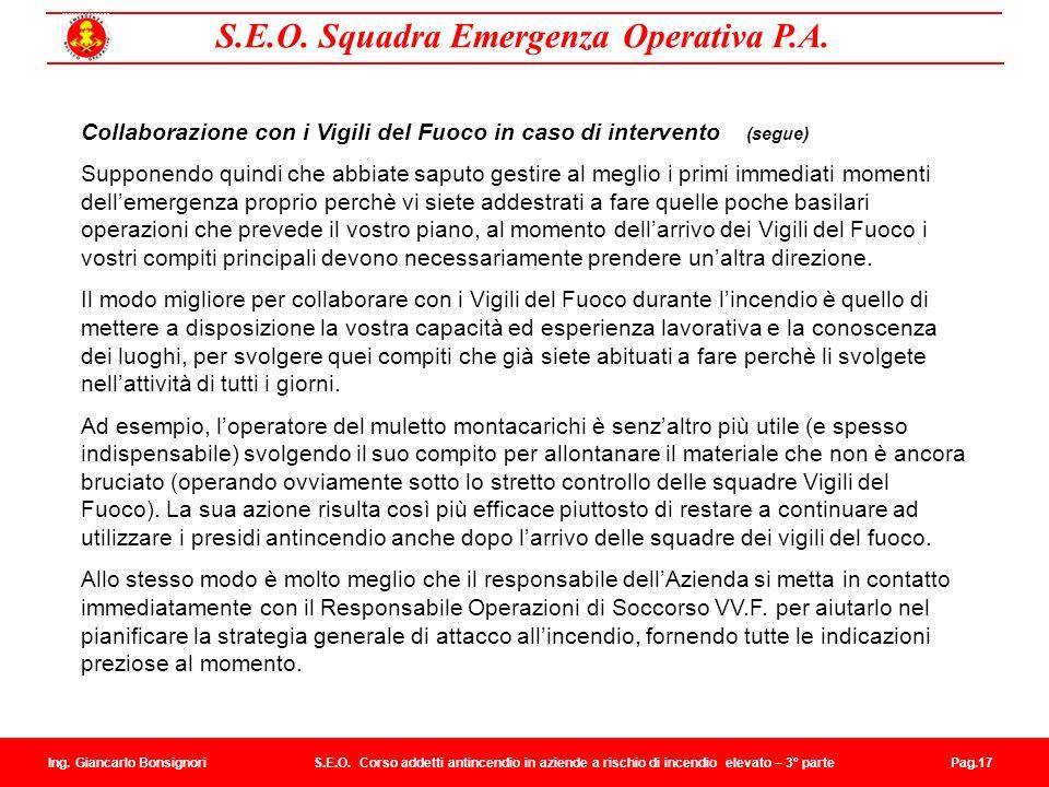 Collaborazione con i Vigili del Fuoco in caso di intervento (segue)