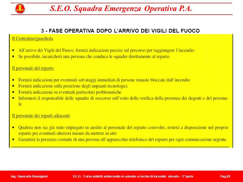 3 - FASE OPERATIVA DOPO L'ARRIVO DEI VIGILI DEL FUOCO