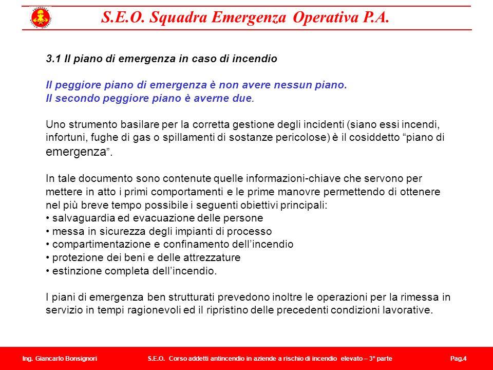 3.1 Il piano di emergenza in caso di incendio