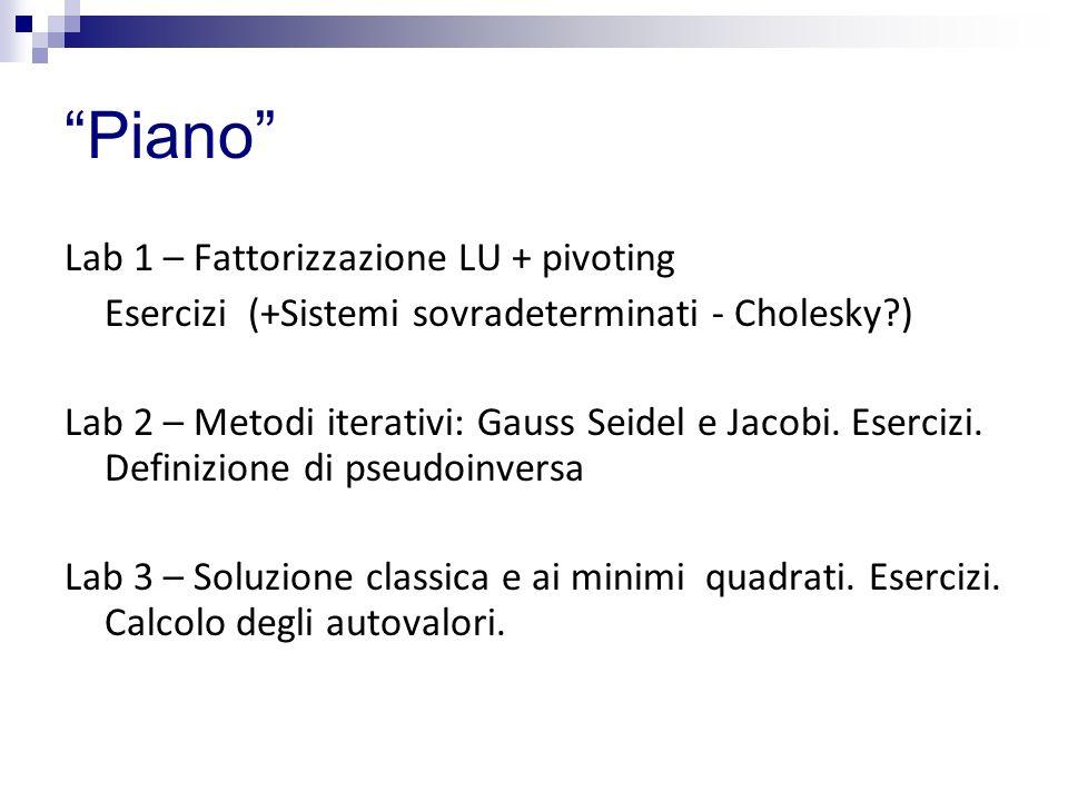 Piano Lab 1 – Fattorizzazione LU + pivoting