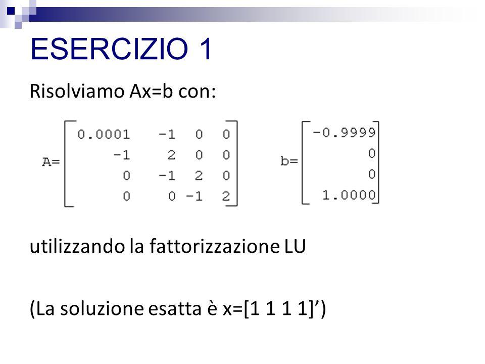 ESERCIZIO 1 Risolviamo Ax=b con: utilizzando la fattorizzazione LU